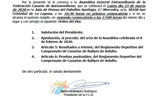 Convocada la Asamblea Extraordinaria FCA 2020 Se desarrollará en el Pabellón Santiago Martín (Tenerife) a partir de las 16:30 horas del lunes, 23 de marzo.