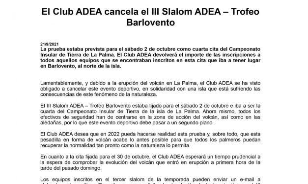 El Club ADEA cancela el III Slalom ADEA – Trofeo  Barlovento
